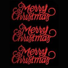 "Christmas Decoration 3 Pack Glitter ""Merry Christmas"" Signs - Red"