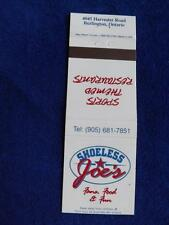SHOELESS JOE'S RESTAURANT SPORTS BAR BURLINGTON ONT CANADA VINTAGE MATCHBOOK