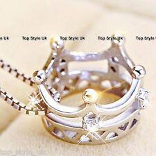 Plata Esterlina 925 3d Queen Corona Collar Colgante Regalo Para Mamá esposa Hija