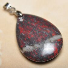 "Extremely Red Natural Bloodstone Jasper 925 18K WG Clasp 1.5"" Pendant #P13265"