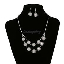 Cheap Wedding Bridal Jewelry Rhinestone Pearl Crystal Necklace Earrings Set