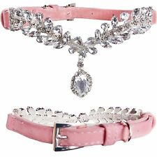 Luxury Small Pink Suede Leather Bling w/ DIAMOND PENDANT Dog Puppy Collar