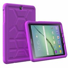 For Samsung Galaxy Tab S2 9.7 Turtle Skin ShockProof Bumper Silicone Case Pruple
