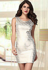 Shining Square Hot Stamping Bodycon Party Dress White Medium