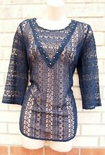 FLORAL EMBROIDERED BEADED NAVY BLUE CROCHET LACE TUNIC CAMI BLOUSE TOP 14 L