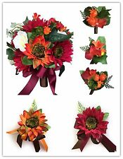 6pc set: Silk flower wedding package-Burgundy Orange Ivory wedding theme