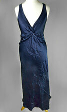 GHOST LONDON Large Navy Blue Twist Knot Maxi Cocktail DRESS Formal Wedding VNeck
