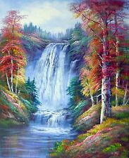 WATER FALL AUTUMN FOREST LANDSCAPE ART OIL PAINTING 20x24 USA SELLER ID7-13