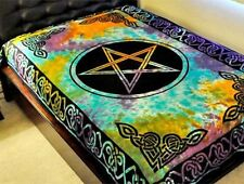"Pentacle Multi Color Tie Dye Tapestry 72 x 108"" Wiccan Pagan Altar Supply TP24TD"