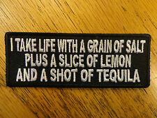 I TAKE LIFE WITH A GRAIN OF SALT EMBROIDERED PATCH FUNNY SAYING