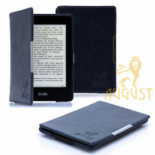 DARK BLUE THIN FOLIO LEATHER CASE COVER FOR KINDLE PAPERWHITE, SCREEN GUARD &PEN