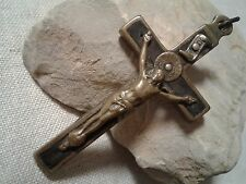 Antique handmade Catholic Crucifix inlaid with black wood Sacred Heart Crown