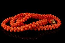ANTIQUE CHINESE SALMON CORAL BEADS NECKLACE