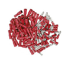 100pcs Male + Female Red Insulated Bullet Connector Terminals 22-16AWG Wire Kit