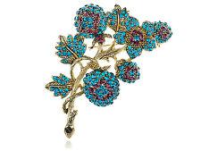 Graceful Blue Zircon Ruby Crystal Rhinestone Flower Leaf Pin Brooch