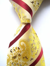 New Classic Paisley Yellow Red JACQUARD WOVEN 100% Silk Men's Tie Necktie