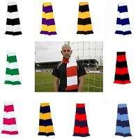 Warm Knitted Acrylic Striped Supporters Fans Football Team Scarf with Tassels