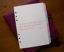 A5 Size SUBJECT DIVIDERS with Motivational Quotes - 'Pastel' #709 - Fits Filofax