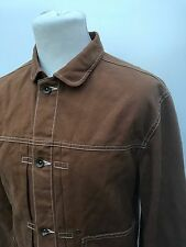 W@W JACK & JONES MENS SMALL/MEDIUM BROWN DENIM BUTTON-UP COAT