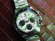 Alpha Watch Daytona Silver Dial Chronograph Display Case Back *Ebay Lowest Price
