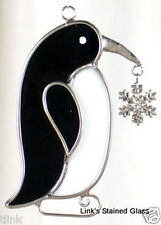 Stained Glass Penguin with snowflake charm sun catcher