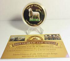 """NEW 2015 Year Of The Sheep """"POLL DORSET"""" 1 Oz Coin C.O.A. LTD 1,000 (No Tin)"""