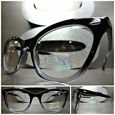 VINTAGE RETRO 60s CAT EYE Style Clear Lens EYE GLASSES Black & Transparent Frame