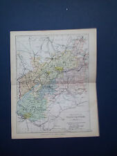 HEREFORD MAP WITH RAILWAYS-ANTIQUE PHILIPS COLOURED DATE  1898   APP 7inx 9in