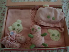 New April Cornell Baby Gift 5pc Set Pink Newborn Infant 6M Teddy Bear Blanket