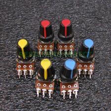 6x 20K OHM Linear Taper Dual Gang Rotary Potentiometers B20K Black Knob 6pcs U38
