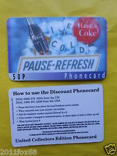 cartes de telephone 1997 phone cards 50 P coca cola coke the coke telefonkarten
