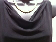 Eileen Fisher PP BLACK Rayon Lycra COWL NECK DRESS