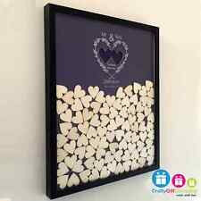 Personalised wedding drop box guest book with 130 hearts and coloured background