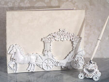 Quinceanera Sweet 15 16 Birthday Fairytale Carriage Photo Guest Book Pen Set