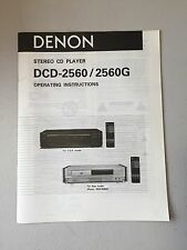 Denon Dcd-2560 / Dcd-2560G Cd Player Owner's Manual Original - Nos