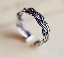 Antique 925 Silver Plt Double Twist Weave Ring  Knuckle Adjustable  Ladies Gift