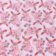Retro Vintage Fabric Cotton Flannelette Baby Sewing Craft Pink Bunnies Easter