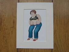 "BERYL COOK ""BLUE JEANS"" MOUNTED CARD 10 X 8 FUNNY"