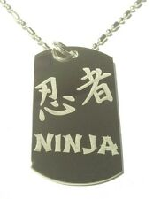 Military Dog Tag Metal Chain Necklace Ninja Warrior Kanji Japanese Characters