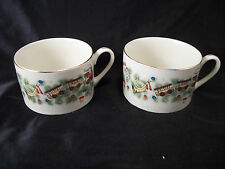 Mugs cups 2 Christmas Marine Foundation Toys for Tots gold trim train Coffee Tea