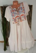 NEU ITALY SOMMER EMPIRE BOHO TUNIKA KLEID ஐ FOLKLORE STICKEREI ஐ ROSA 38-42