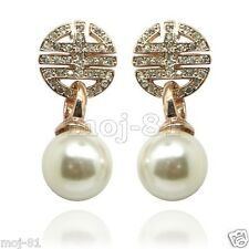Fashion Women's Natural White Shell Pearl 18K Gold Plated Stud Dangle Earrings