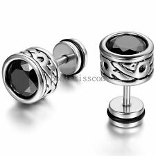 2pcs Black Stainless Steel Round Totem Cubic Zirconia Stud Mens Ladies Earrings