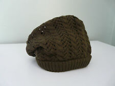 NEW MONSOON ACCESSORIZE LADIES BROWN KNITTED OVERSIZED BOHO BEANIE HAT