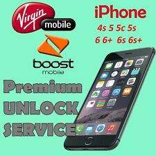 USA Virgin & Boost Mobile Premium UNLOCK SERVICE iPhone 4 4s 5 5s 5c 6 6+ 6s 6s+