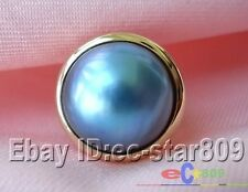 789 HUGE REAL 8# 20MM BLUE SOUTH SEA MABE PEARL SILVER-GILD RING