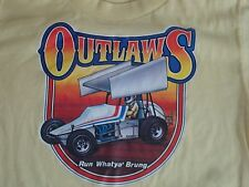 Vintage Yellow Outlaws Go Kart Racing Iron On T Shirt S