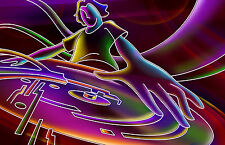 Framed Print - Colourful Neon DJ in the Mix (Picture Poster Music Vinyl Mixing)