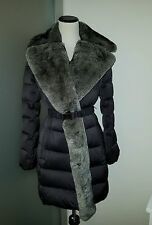 $798.00 Diane von Furstenberg DVF Genuine Rabbit Fur Belt Down Coat Large BEYOU*