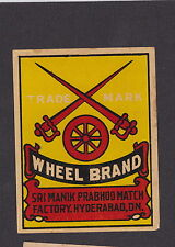 Ancienne  étiquette allumettes de paquet  Inde   BN13850 Roue Epée